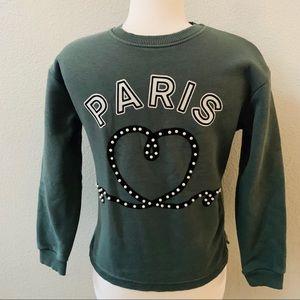 ZARA kids PARIS pearl heart olive green sweatshirt